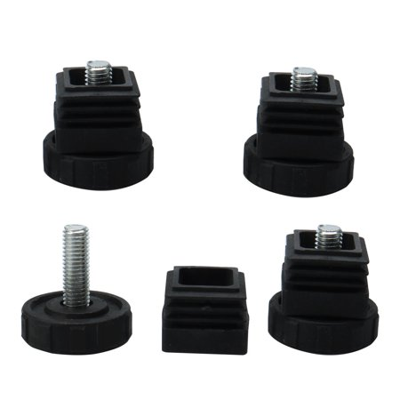 Leveling Feet 30 x 30mm Square Tube Inserts Kit Furniture Glide Adjustable Leveler for Shelves Desk Table Sofa Legs Black 4 Sets