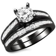 Noori 14k Black Gold 1 1/2ct Round Princess Cut Diamond Engagement Ring Set (G-H, SI1-SI2) Size 6