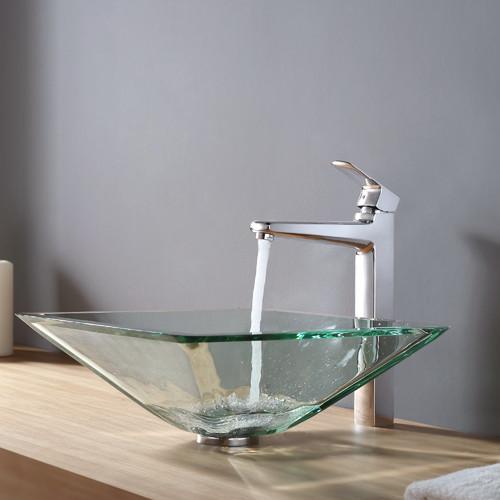 Kraus Virtus Aquamarine Glass Vessel Bathroom Sink with Faucet
