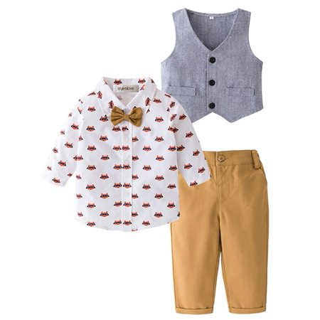 Stylesilove Little Boy Long Sleeve Cartoon Bow-tie Fox Shirt and Pants and Vest 3 pcs Gentlemen - Cartoon Characters Outfits