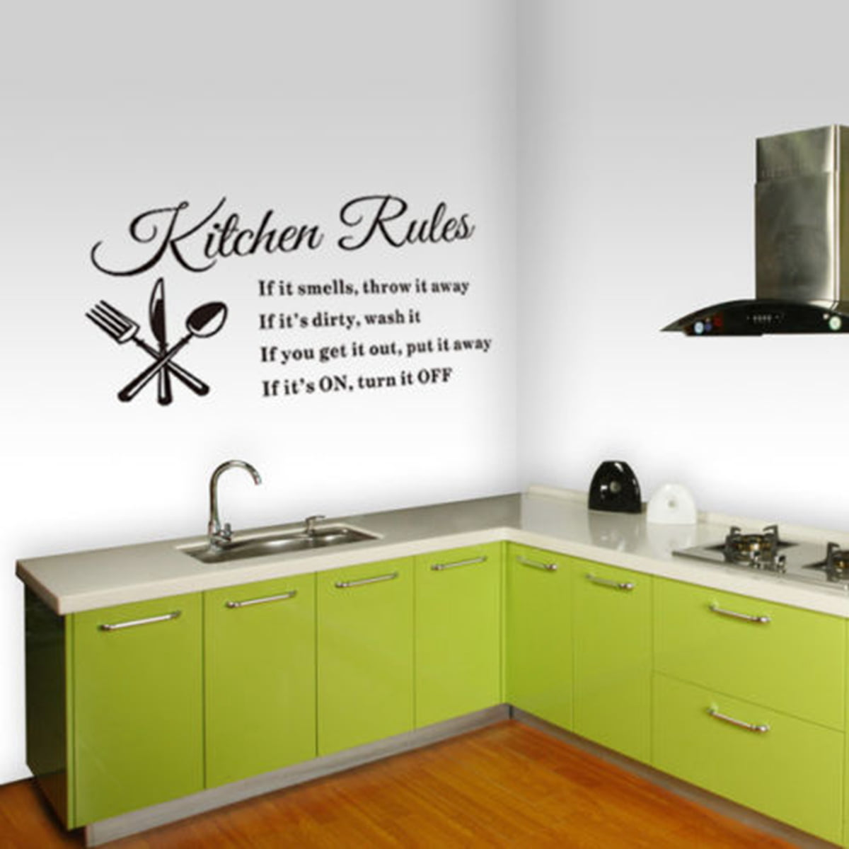 1Pcs Removable Kitchen Rules Words Wall Stickers Decal Home Decor ...