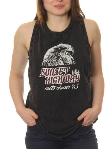 "Sunset Highway Juniors' ""Moto Classic 83'"" Lunar Wash Sleeveless Muscle Graphic Tee"
