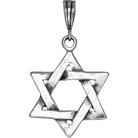 Sterling Silver Star of David Pendant Necklace with Antique Finish and 24 Inch Figaro Chain