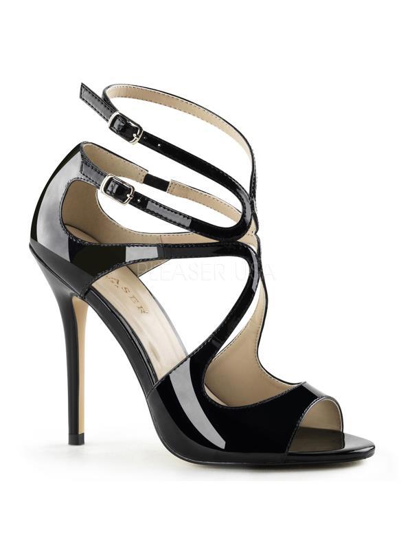"AMU15/B Pleaser Single Soles 5"" Heel Shoes BLACK Size: 6"