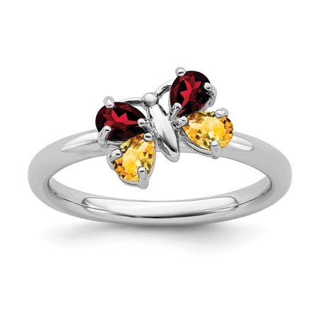 Roy Rose Jewelry Sterling Silver Stackable Expressions Citrine & Garnet Butterfly Ring Size 5
