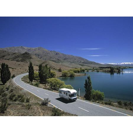 Camper Van on Road by Lake Wanaka, South Island, New Zealand Print Wall Art By Neil Farrin ()