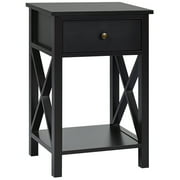 Costway Nightstand Chair Side End Table with Drawer & Shelf Bedroom Furniture Brown