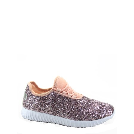 Pink Platforms Wedges Shoes - Remy-18k Youth Girl's fashion Flat Lace Up Light weight Glitter Sneaker Athletic Shoes