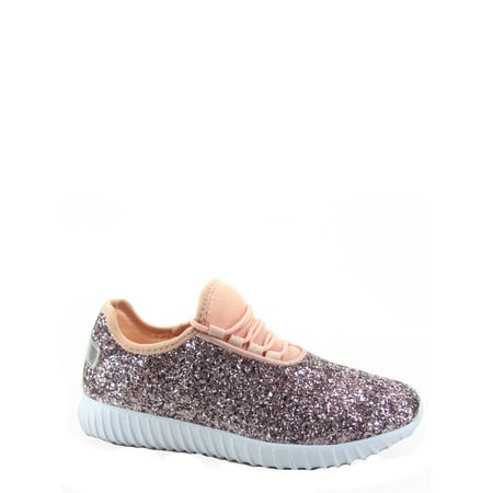Remy-18k Youth Girl's fashion Flat Lace Up Light weight Glitter Sneaker Athletic Shoes