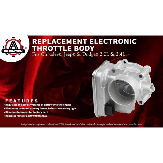 Electronic Throttle Body - Fits 2 0L & 2 4L Chrysler 200, Sebring, Dodge  Avenger, Caliber, Journey, Jeep Compass & Patriot - Replaces# 04891735AC,