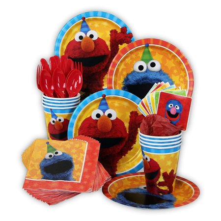 Sesame Street Party Pack Seats 8 - Napkins, Plates, Cups, Cutlery & Stickers - Sesame Street Party Supplies, Standard Party Pack