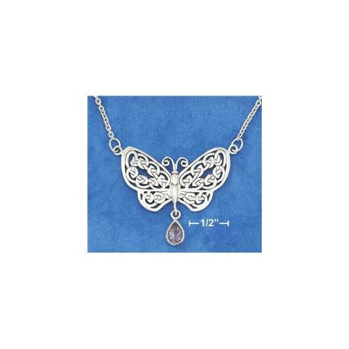 Sterling Silver 18 Inch Knotted Celtic Butterfly Necklace with Amethyst Teardrop
