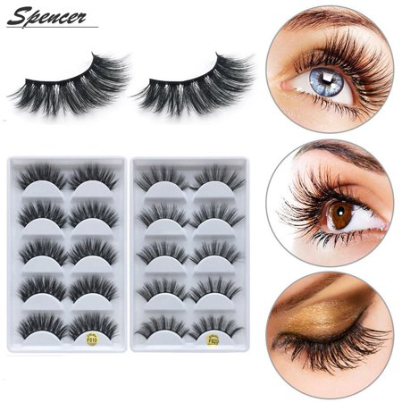 Spencer Real Mink Fur False Eyelashes,5 Pairs 3D Reusable Women Natural Fake Eyelashes Pack