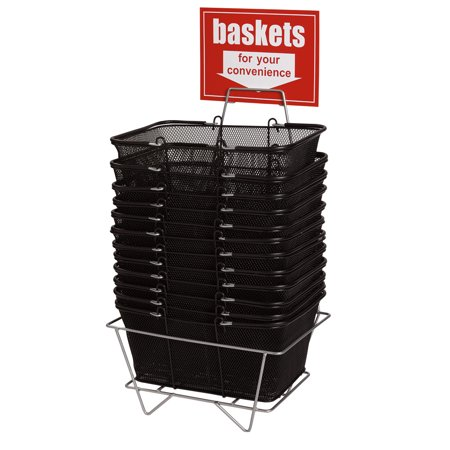 Free Basket Stand (Black Metal Shopping Baskets With Stand - Set of)
