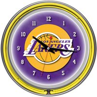 """Los Angeles Lakers NBA 14"""" Neon Wall Clock"""