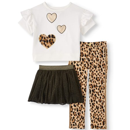 Dorinda Cheetah Girls (Heart Drop Shoulder T- Shirt, Taped Cheetah Print Pant & Mesh Skort, 3-Piece Outfit Set (Little Girls & Big)