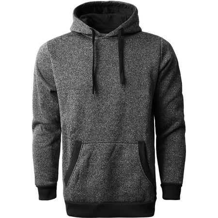 Ma Croix Men's Lightweight Marled Brushed Fleece Pullover Hoodie Red Brushed Fleece