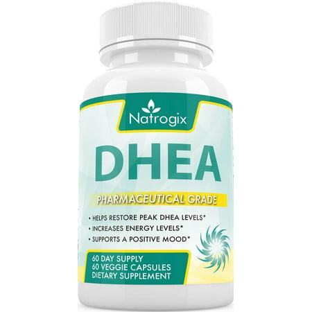 DHEA pure 60mg (120 Capsules) Complément pour soutenir les niveaux d'hormones équilibrés pour les hommes et les femmes, promouvoir la santé DHEA niveaux pour le vieillissement en santé, formule non-OGM (120 Veggie Capsules)