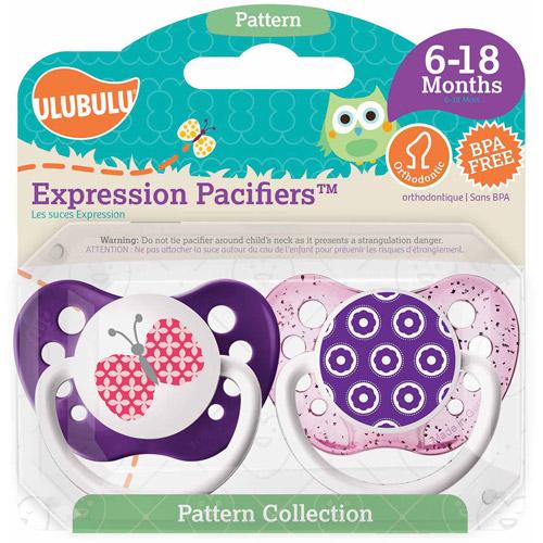 Ulubulu Butterfly Flowers Pacifiers, 6-18 Months 2 Pack by Ulubulu