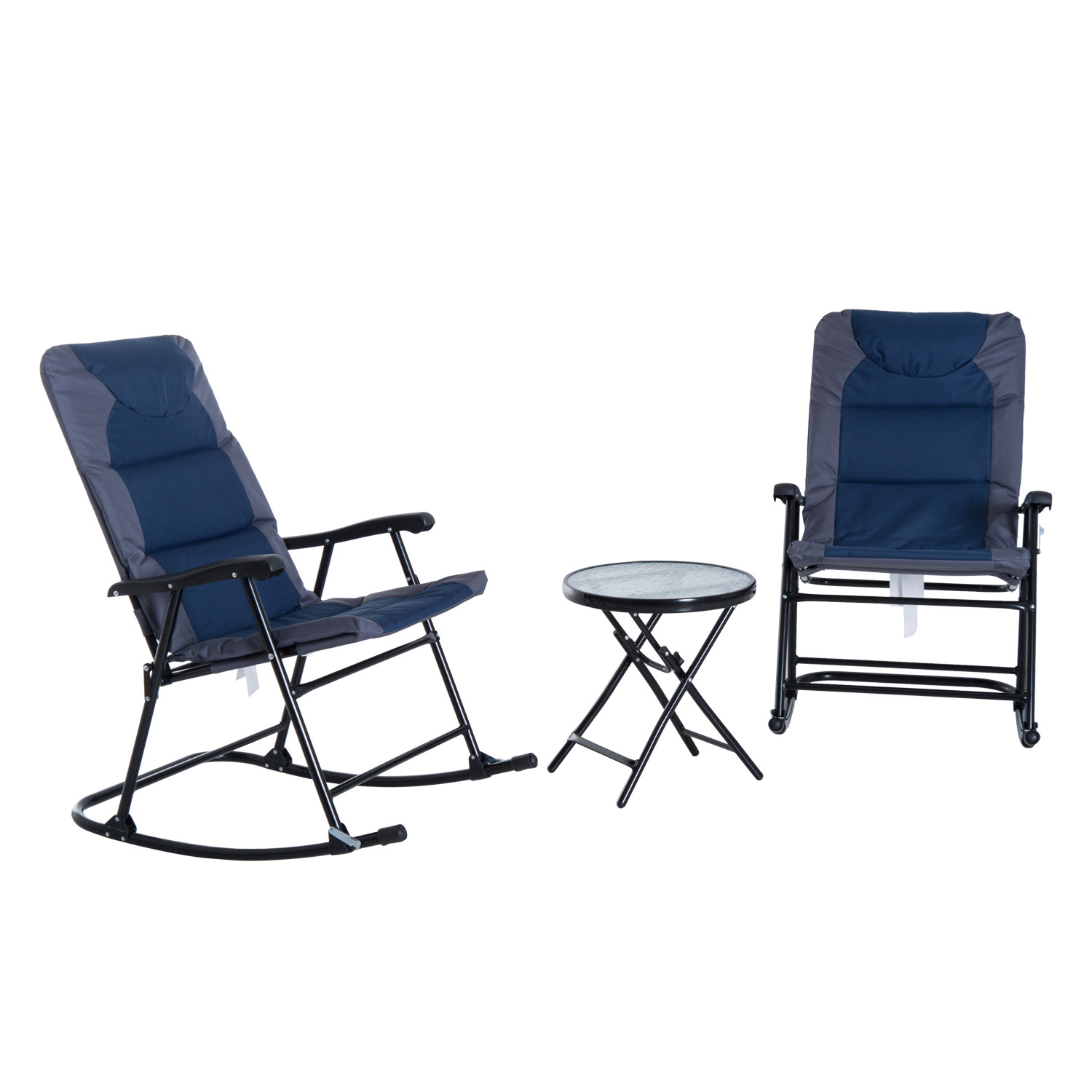 3 Piece Outdoor Folding Rocking Chair And Table Set Patio