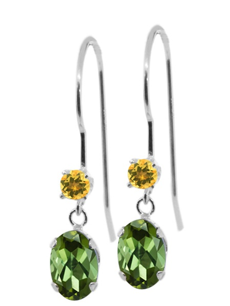 0.94 Ct Oval Green Tourmaline Yellow Simulated Citrine 14K White Gold Earrings by