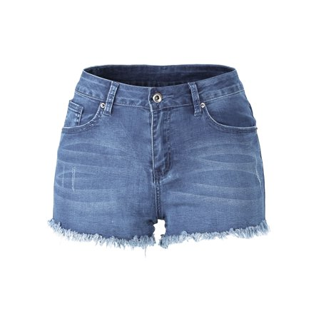 Womens Casual Mid-Rise Denim Shorts Washed Tassel Frayed Hem Jean Shorts Exposed Pocket Bag Summer Beach Mini Shorts