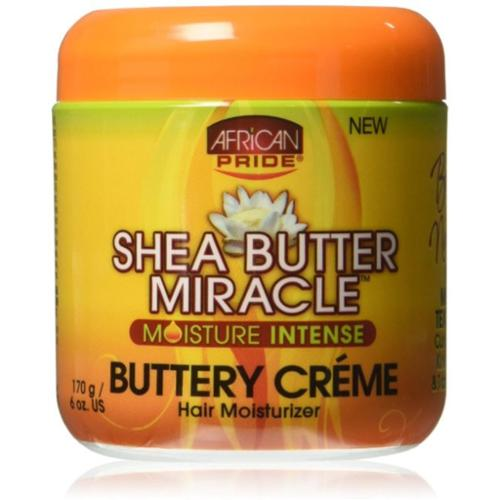 African Pride Shea Butter Miracle Buttery Creme Hair Moisturizer 6 oz (Pack of 2)