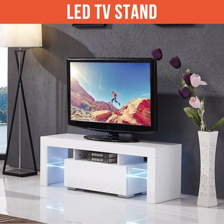 Ktaxon Modern LED TV Unit Cabinet Stand Shelf Table Free Storage Drawer Entertainment Center,White ()