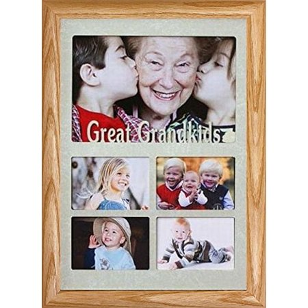 7X10 Great Grandkids ~ Multi Opening Landscape Collage Picture Frame ~ Laser Cut Cream Marbled Mat With Frame (Lightmedium) ()