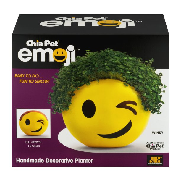 Chia Pet Winky Emoji Handmade Decorative Pottery Planter, Easy to Do and Fun to Grow, Novelty Gift As Seen on TV