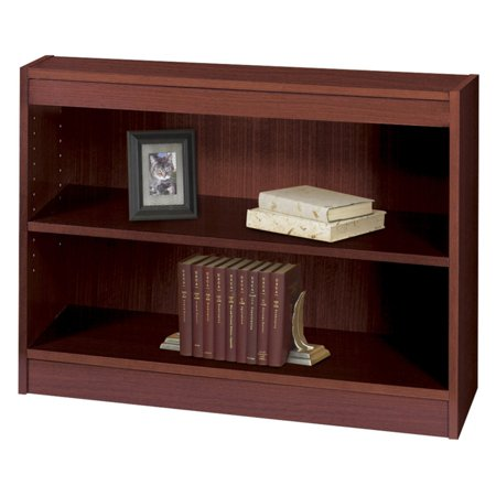 Safco Square-Edge - Bookcase - 2 shelves - particle board, wood veneer - mahogany Square Edge Bookcase Finish