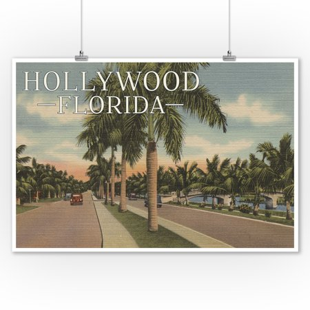 Vintage Car Decor (Hollywood, Florida - Boulevard & Vintage Cars - Vintage Postcard (9x12 Art Print, Wall Decor Travel)