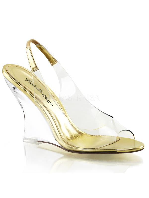 """LOV450/C-G/C Fabulicious Shoes 4"""" Lovely Clr-Gold/Clr Size: 7"""