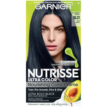 Dark Blue Hair Spray (Garnier Nutrisse Ultra Color Nourishing Hair Color Creme, BL21 Blue Black, 1)