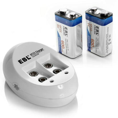 EBL 2-Pack 6F22 600mAh 9V Battery + Battery Charger For 9V Li-ion Ni-MH Ni-CD Rechargeable