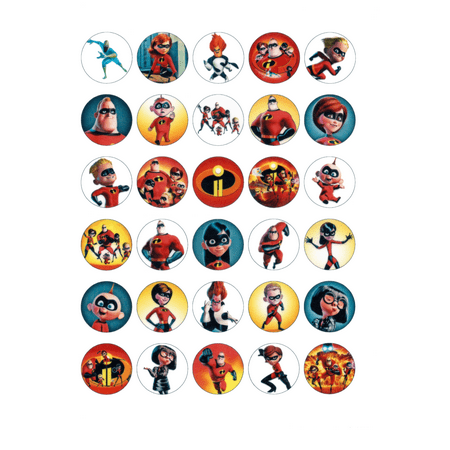 30 x Edible Cupcake Toppers – The Incredibles 2 Fun Party Collection of Edible Cake Decorations | Uncut Edible Prints on Wafer Sheet (Uncut Card Sheet)