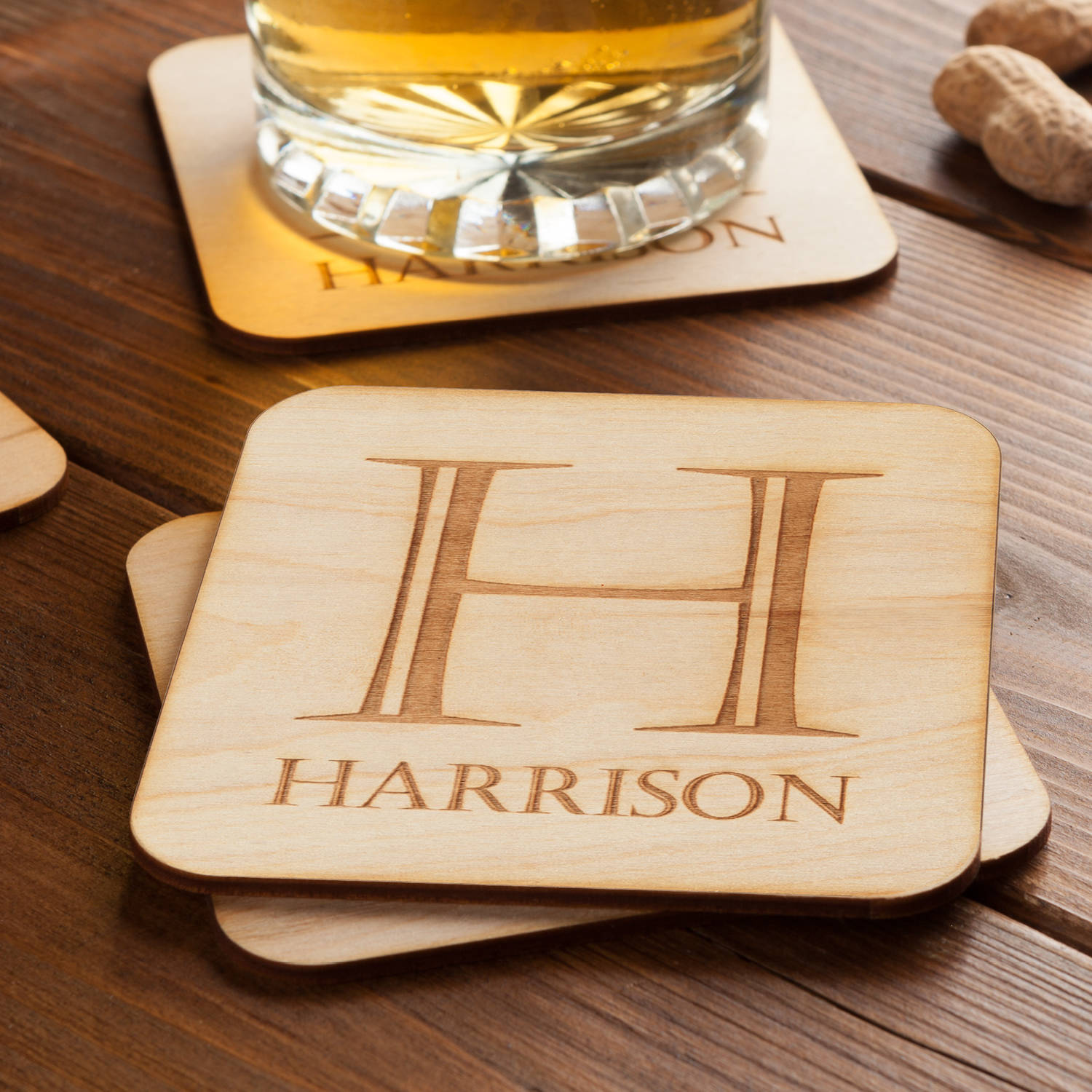 Initial and Name Set of 4 Personalized Wood Coasters