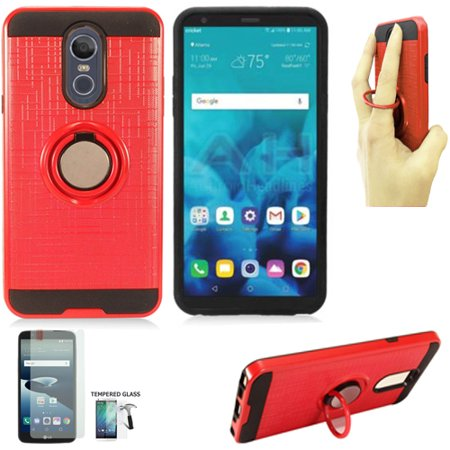 Phone Case for Straight Talk LG Stylo 4 Prepaid / Boost Mobile LG Stylo 4 Case / LG Stylo 4 Case / Stylo 4 Plus Tempered Glass with Finger Holder (Ring-Stand Red-Black TPU/Tempered Glass) ()
