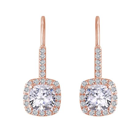 2.62 Cttw Womens Cushion White Moissanite Halo Dangling Drop Earring 14Kt Rose Gold Over Sterling Silver