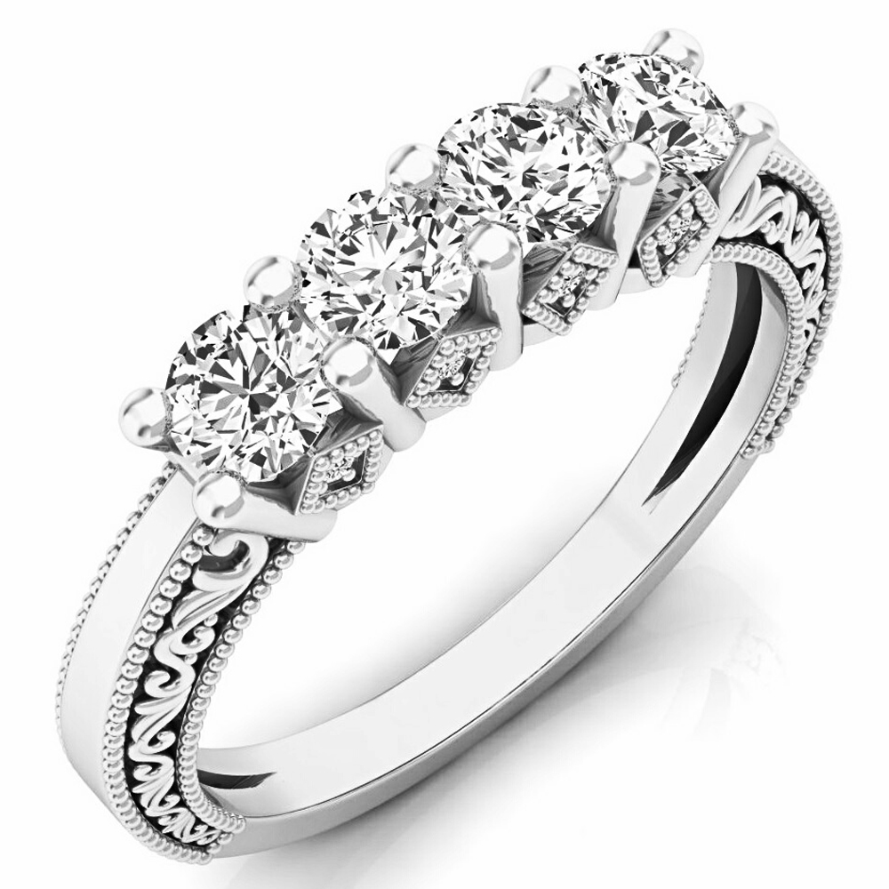0.75 Carat (ctw) 14K Gold Round White Diamond Ladies Anniversary Wedding Stackable Band Ring 3/4 CT