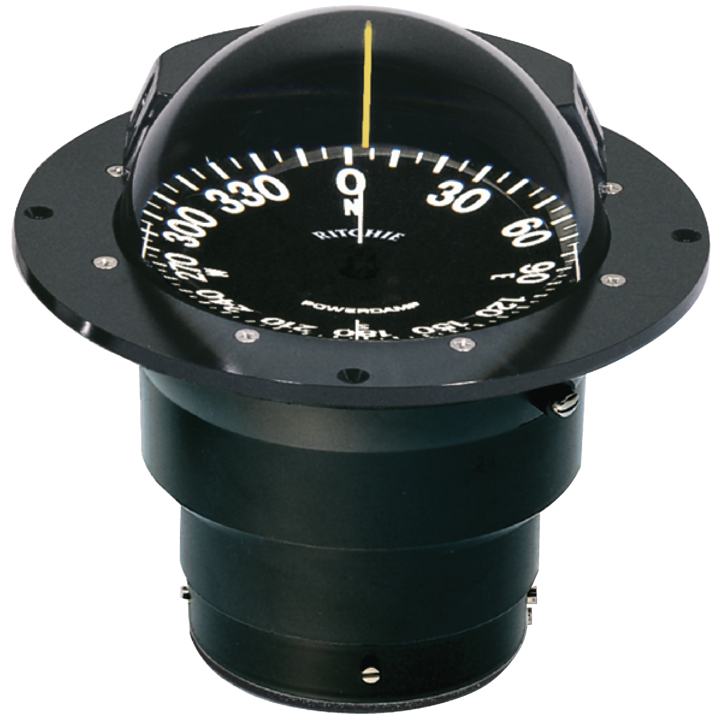 Ritchie FB500 Globemaster Black Boat Compass with Green Light & Flush Mount by E.S. Ritchie & Sons Inc.