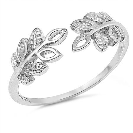 Open Tree Branch Leaf Ring ( Sizes 4 5 6 7 8 9 10 ) .925 Sterling Silver Adjustable Thumb Band Rings by Sac Silver (Size 10) ()