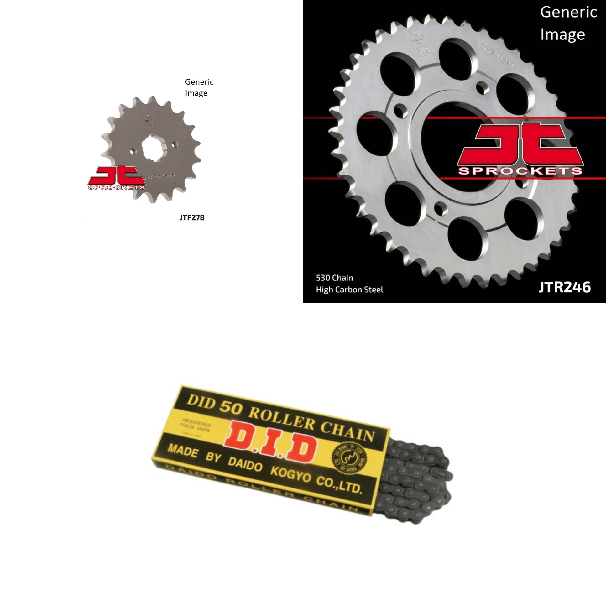 DID Standard 530 Chain Natural, JT Front & Rear Sprocket Kit for Street HONDA CM400E 1980-1981