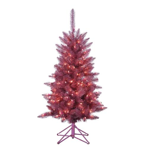 4' Pre-Lit Pink Tiffany Tinsel Artificial Christmas Tree - Clear Lights