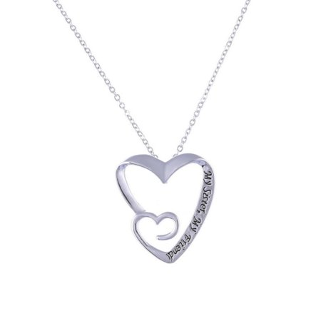 My Sister My Friend Anti-Tarnish Heart Best Friend  Silvertone Necklace, (Best Amazon Collection Friend Sisters)
