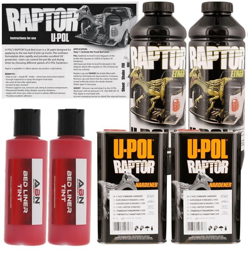 U-POL Raptor Tintable Hot Rod Red Bed Liner & Texture, 2 Liters Upol