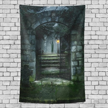 POPCreation Dark Old House Entrance Door Wall Tapestry Halloween Dorm Throw Bedroom Living Room Decorative Hanging 40x60 inches
