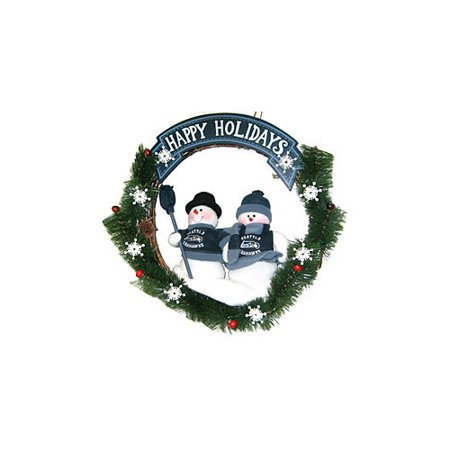 Seattle Seahawks Official NFL Team Snowman Wreath by SC Sports 042044