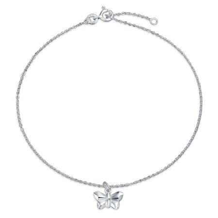 Origami Butterfly Anklet Dangle Charm Ankle Bracelet For Women 925 Sterling Silver Adjustable 9 To 10 Inch With