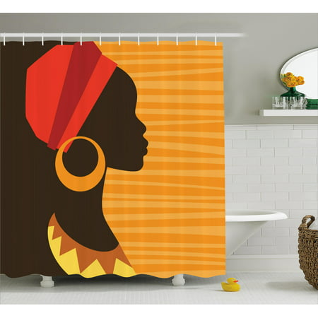 African Shower Curtain, Girl Profile Silhouette with Earrings Feminine Grace Ethnic Icon Image, Fabric Bathroom Set with Hooks, Dark Brown and Marigold, by Ambesonne